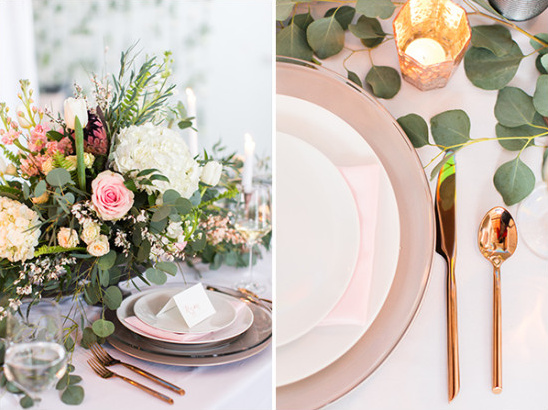 Pink and rose gold place setting