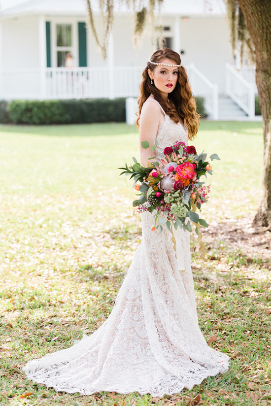 Lace Wedding Dress And Bouquet