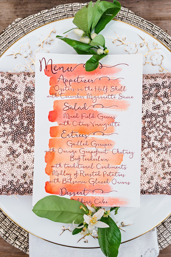 Watercolor menu for reception