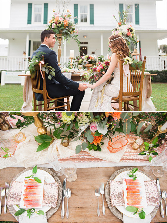 Bright table decor and details