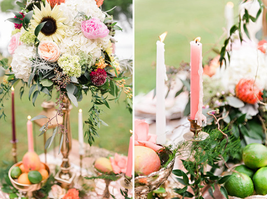 Floral centerpiece and candles