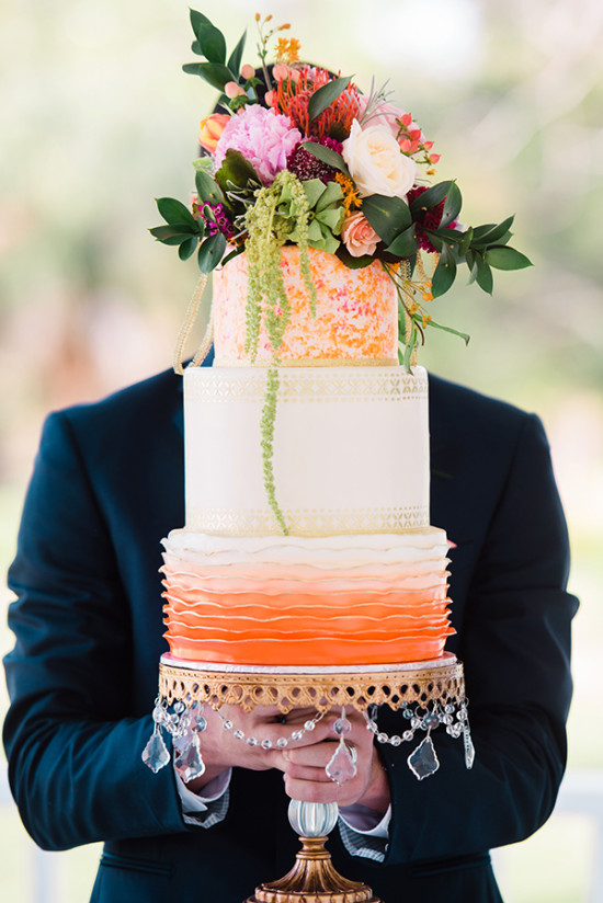 Orange and gold wedding cake