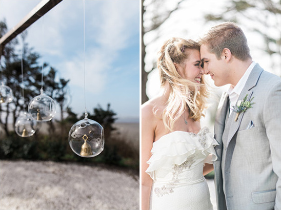 glass ornament and bell ceremony backdrop