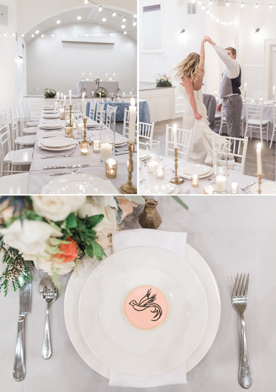 white and blue candle lit wedding reception