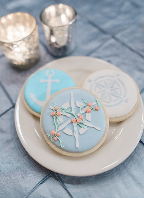 nautical wedding cookies