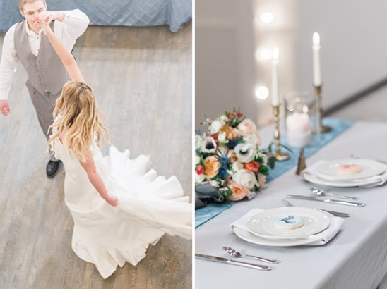 blue and silver sweetheart table