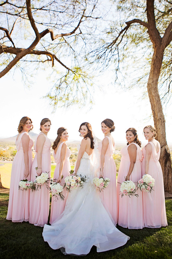 soft pink drape back bridesmaid dresses