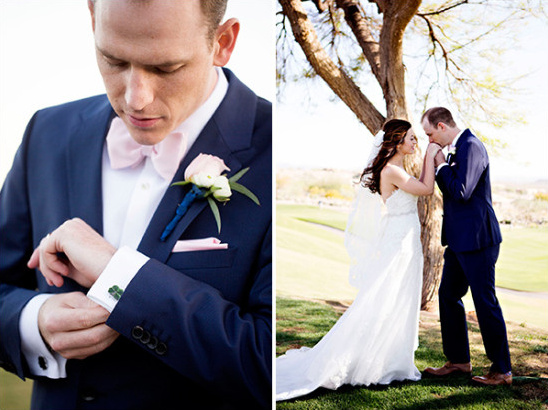 pink bow tie and navy suit groom