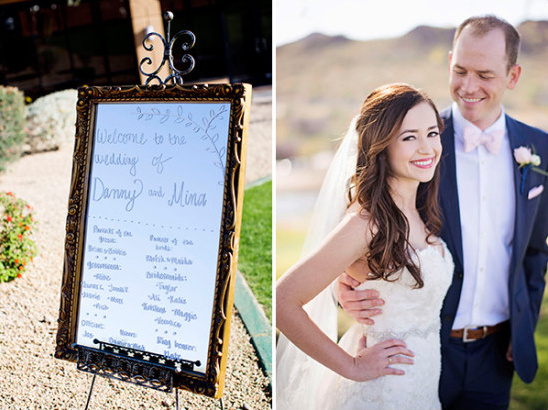 mirror wedding sign and bride and groom