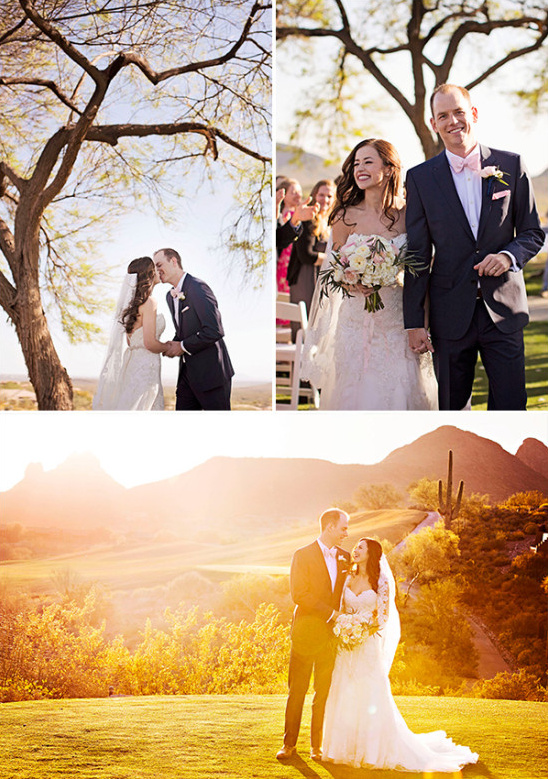 sunset wedding photos and wedding kiss