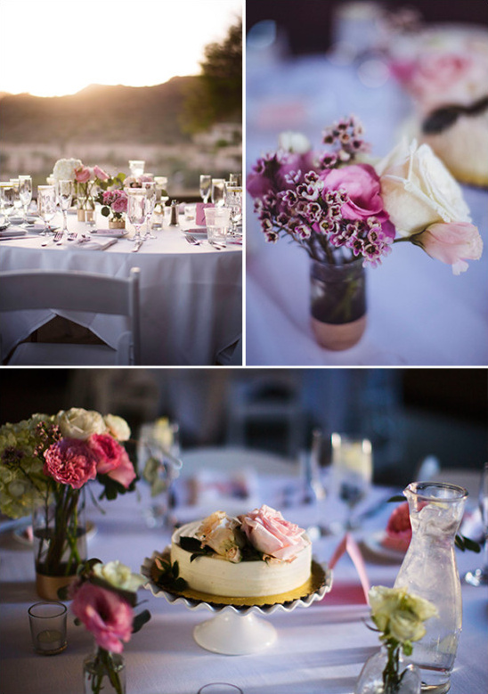 pink and ivory wedding reception