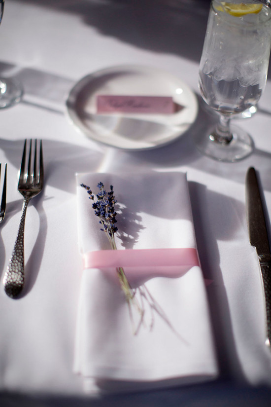 lavendar accented place setting