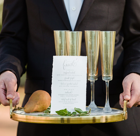 Wedding menu and cocktails