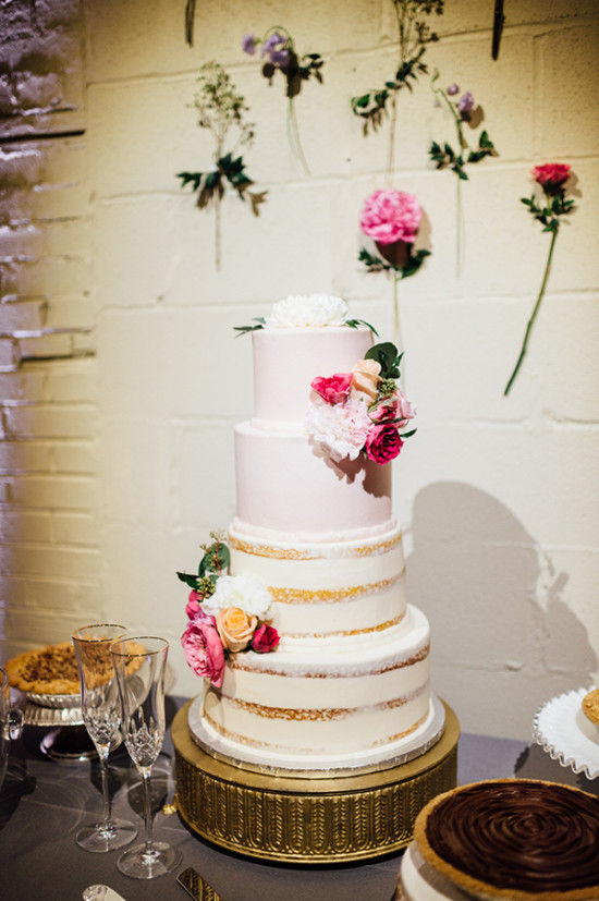 wedding cake with flower accents