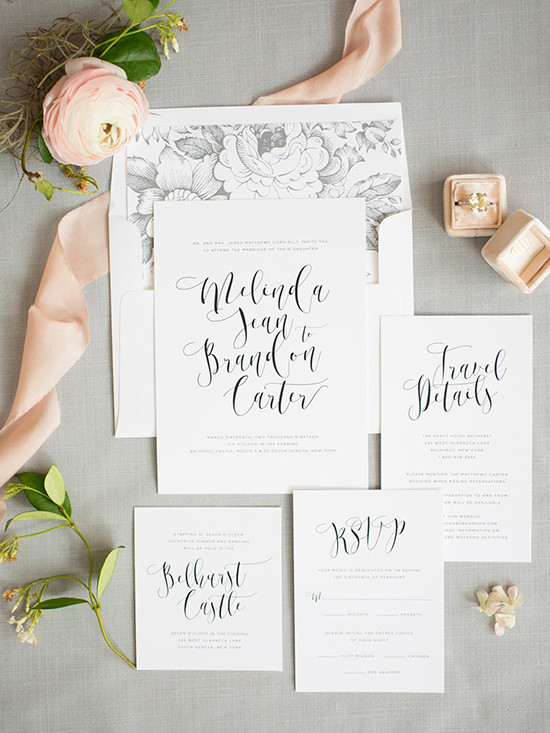 Calligraphy Wedding Invitations From Shine Wedding Invitations