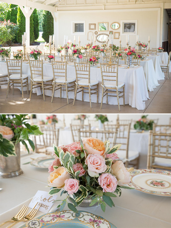 gold and pink wedding reception seating