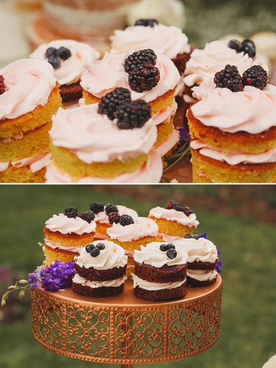 berry topped mini naked cakes