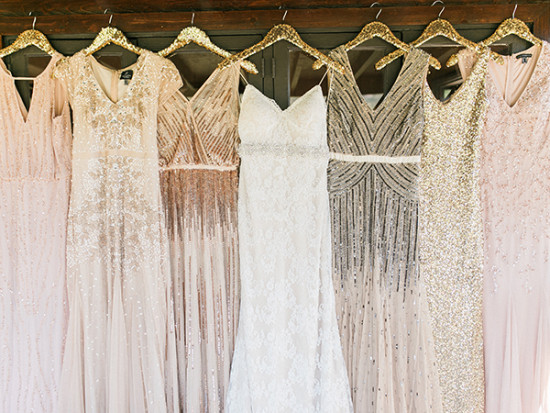 Bridal dresses in gold and blush sequin