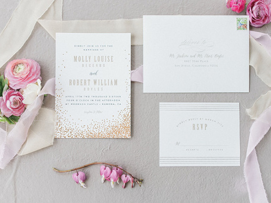 Gold sparkle wedding invitation suite