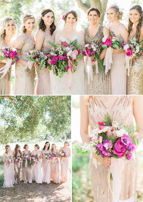 Bridesmaids in gold and blush