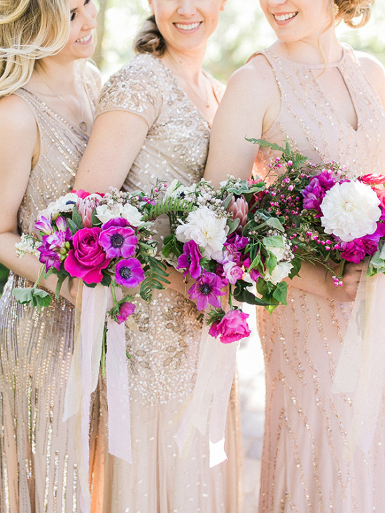 Fuchsia bridesmaid bouquets