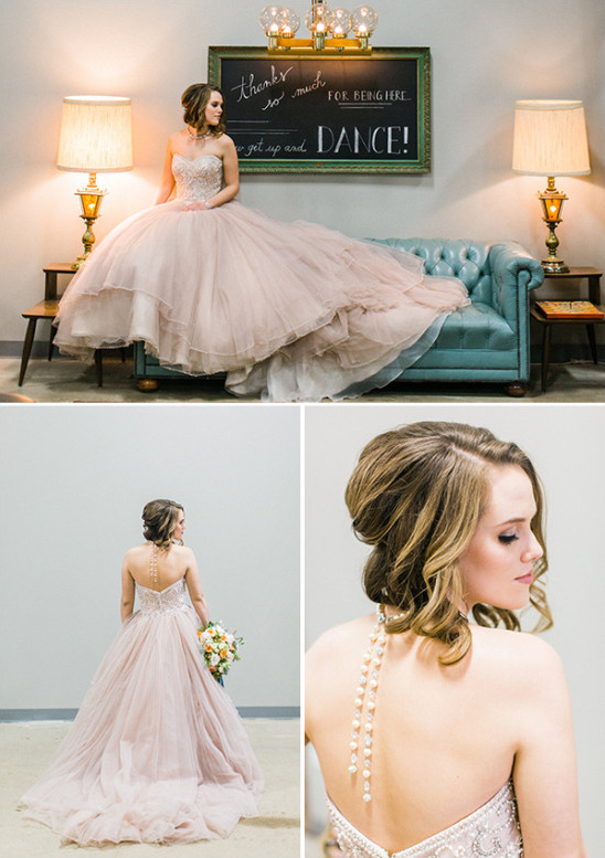 Justin Alexander soft pink wedding dress