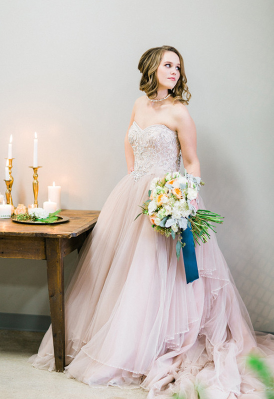 strapless pink Justin Alexander wedding dress