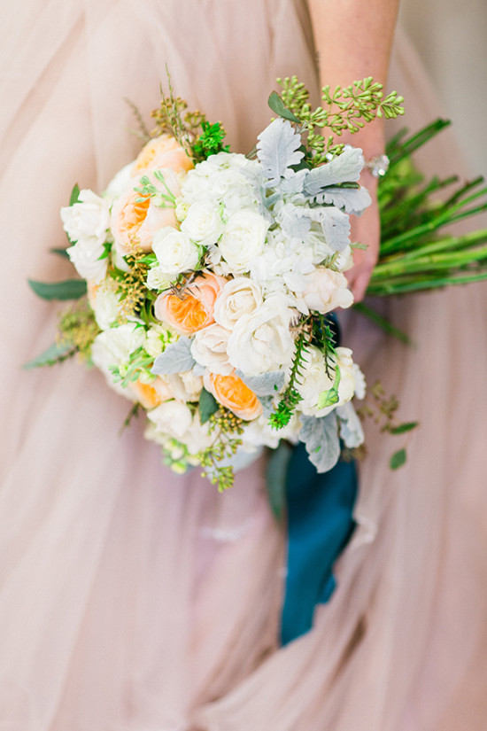 peach white and grey bouquet