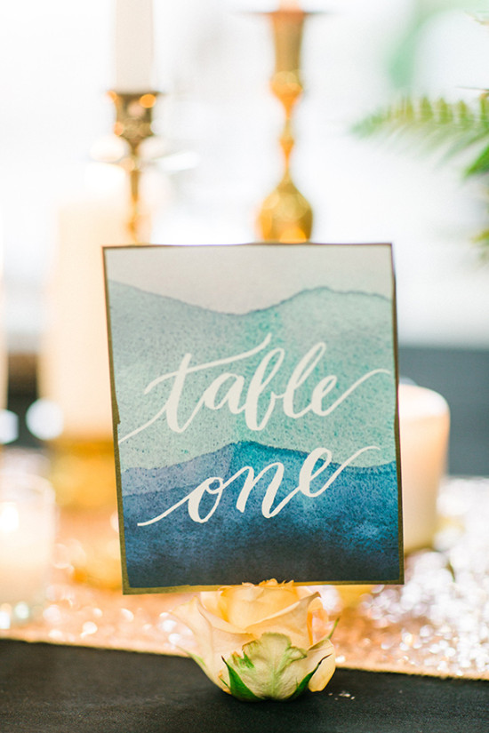 watercolor calligraphy table number