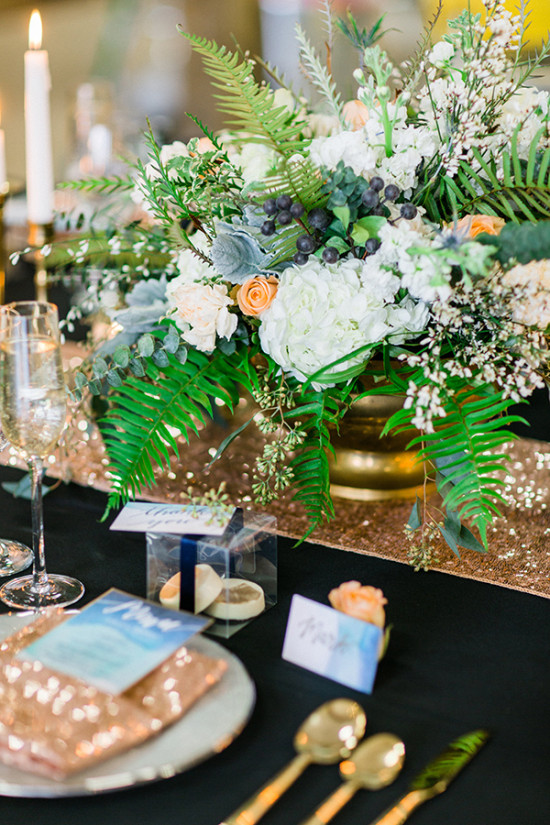 gold blue white and grey organic centerpiece