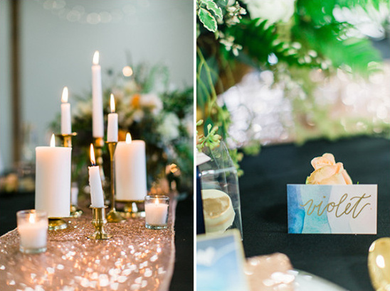 watercolor place cards and assorted candle centerpiece