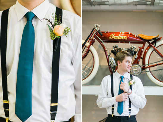 simple suspender groom look