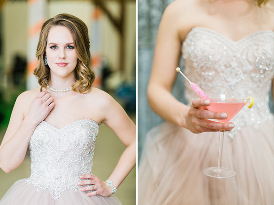 pink cocktail for the bride