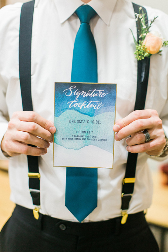 his signature cocktail watercolor sign