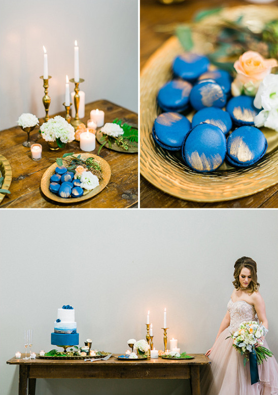 simple blue and gold cake table