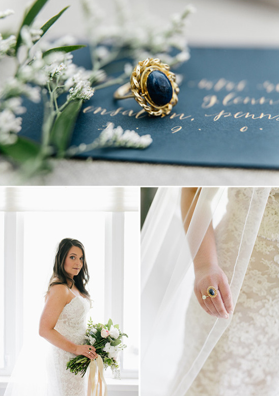 vintage gold and navy wedding accessories