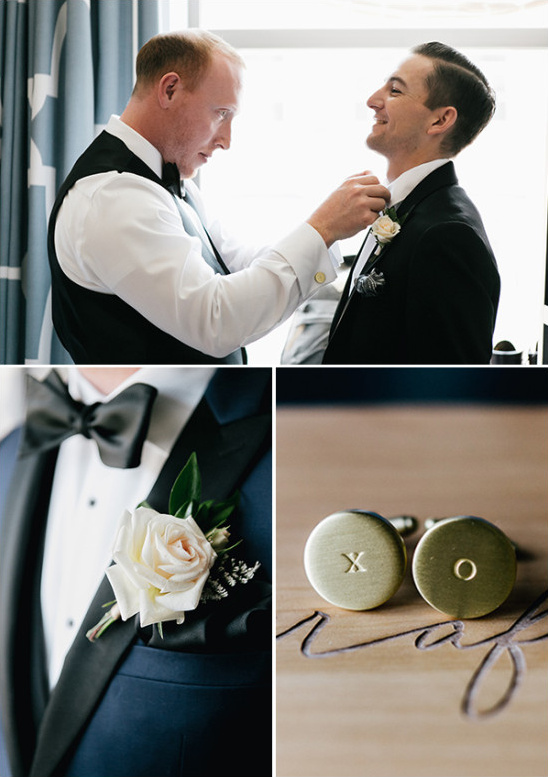 navy black and white groom with x o cuff links