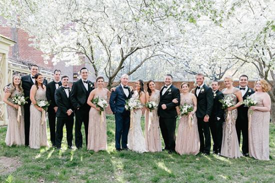 gold black white and navy wedding party