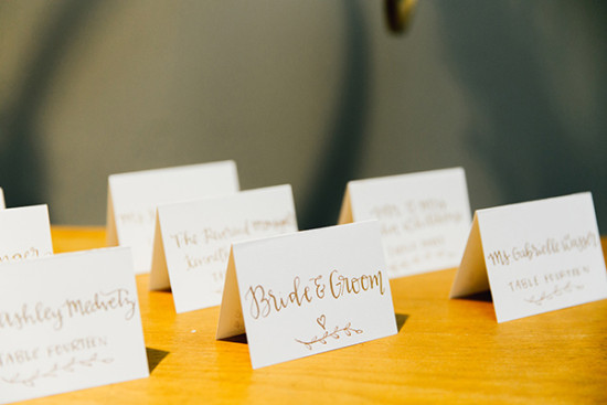 hand written escort cards for the reception
