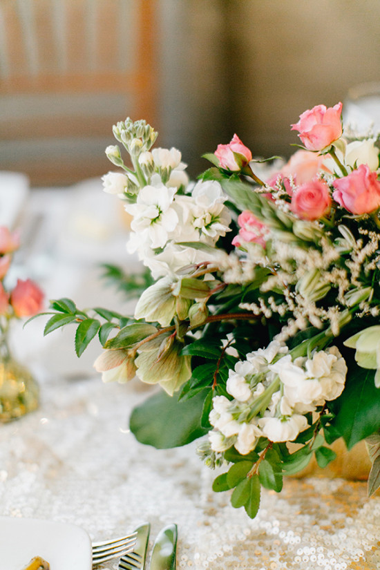 pink and white centerpiece flower box
