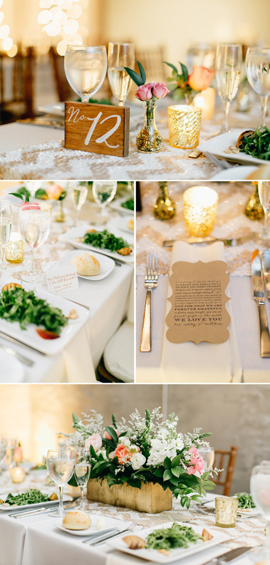gold and white candle lit reception table decor with wooden table numbers