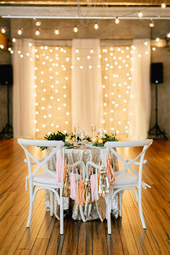 sweetheart table in pink gold and white