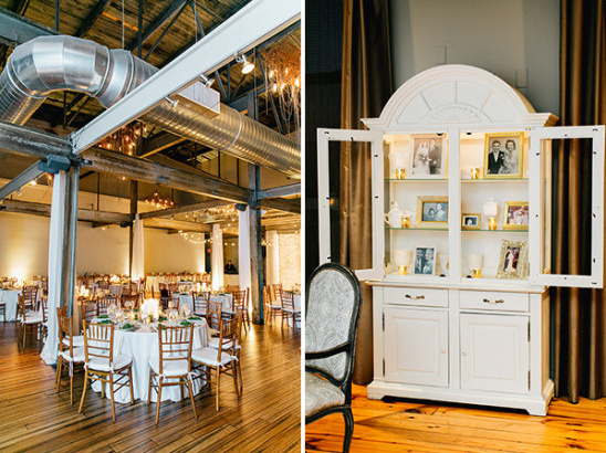 chic industrial wedding space with memorial photo hutch