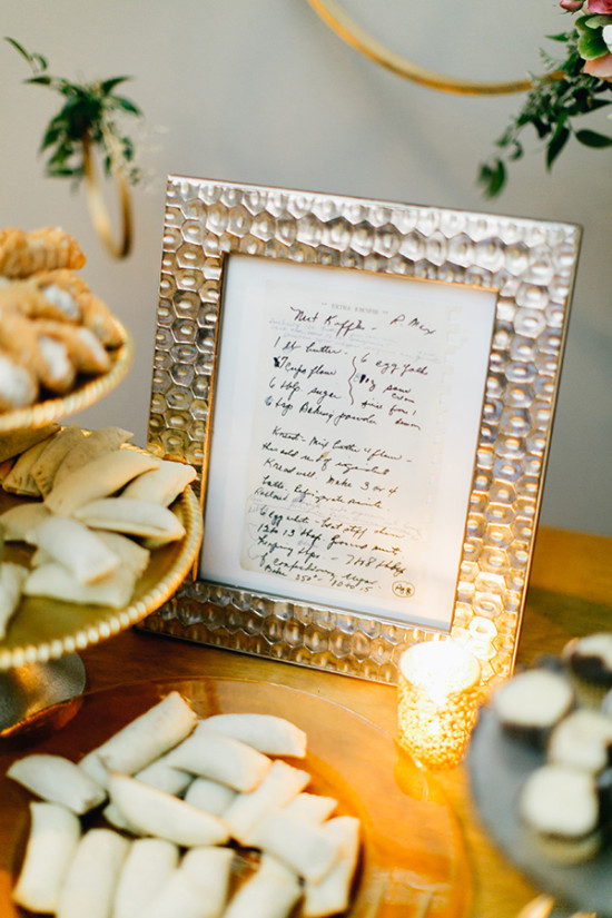 framed hand written recipe of homemade desserts