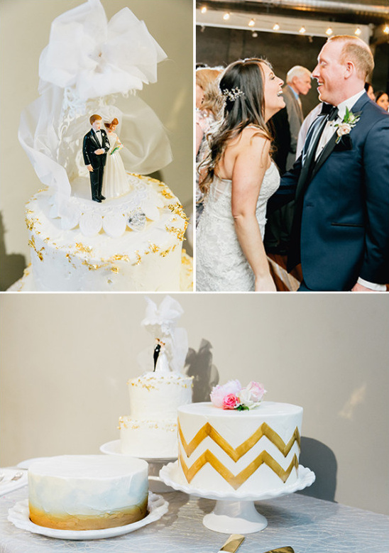 wedding cakes in white and gold