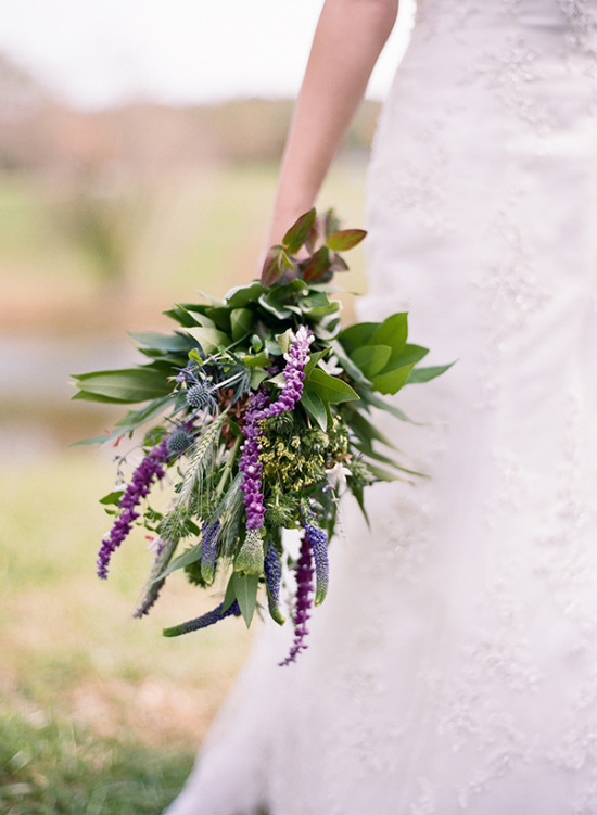 Green and purple wedding bouquet