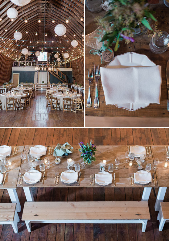 Rustic indoor barn reception