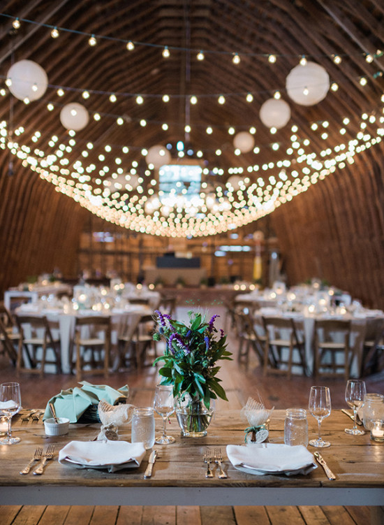 Barn wedding with twinkle lights