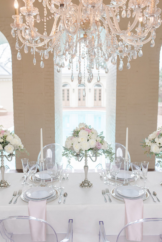 white pink and crystal table decor