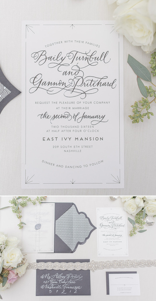 romantic calligraphy white and characoal gray invitation suite